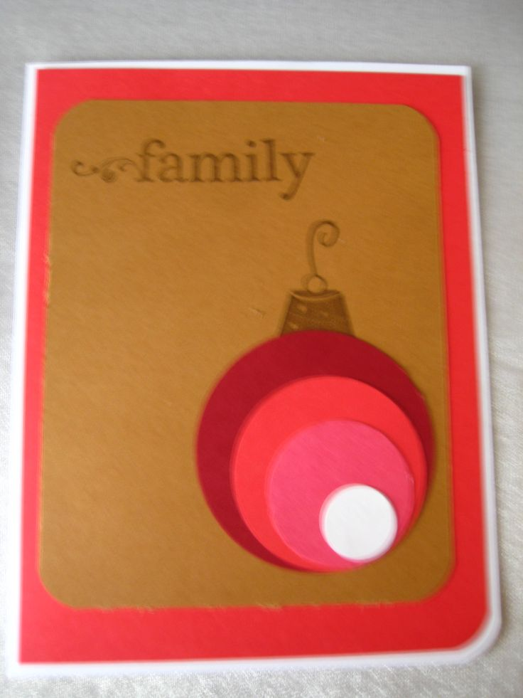 variation on a theme 'Family' stampin up ornament top, kraft paper, pinks and red