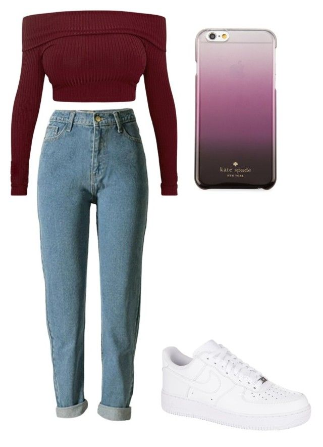 😊☺️ by niko-arce-olate on Polyvore featuring polyvore, fashion, style, NIKE, Kate Spade and clothing