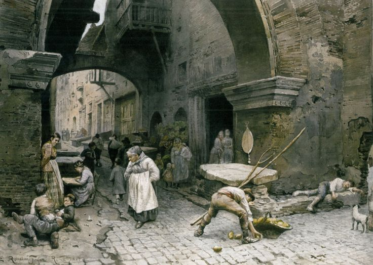 Ettore Roesler Franz - Il Portico d'Ottavia guardando a destra, 1887