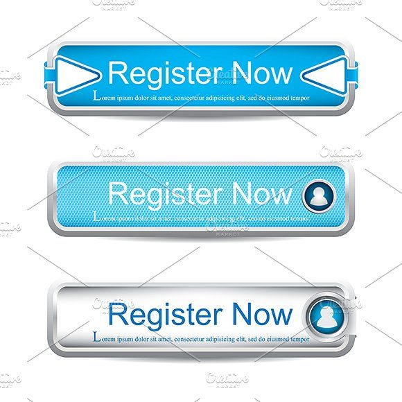 Buttons Graphics Shiny blue register now button collection.Vector illustration.Included files: .AI (CS4, CMYK), .ep by gigello