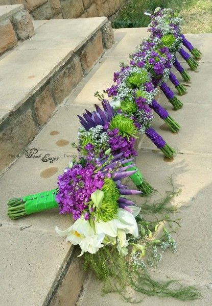 Brides bouquet, maid of honour and bridesmaids bouquets - Floral Design  by www.pinkenergyfloraldesign.co.za