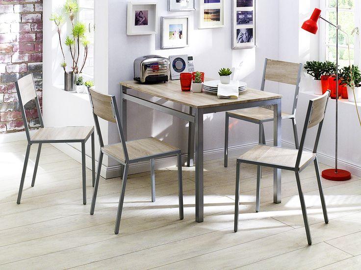Tischgruppe Knax 5tlg. Tischgruppe bestehend aus 1 x Tisch, 4 x Stühle Material: Tischplatte:     Sonoma  Eiche Nachbildung Sitz / Rücken:     Sonoma  Eiche Nachbildung...