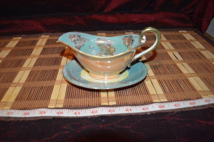 Japanese Gravy Boat w/ Underplate Porcelain Orange & Blue Iridescent w/ Gold  #Unknown