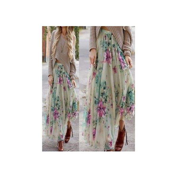 Multicolor Floral Print Pleated Boho Maxi Skirt featuring polyvore, women's fashion, clothing, skirts, chiffon maxi skirt, pleated chiffon maxi skirt, pleated maxi skirts, maxi skirt and floral pleated skirt