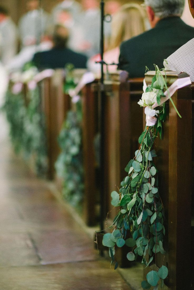 Eucalyptus leaves, white roses, pink ribbon, wedding ceremony, church décor, aisle // Sean Money + Elizabeth Fay