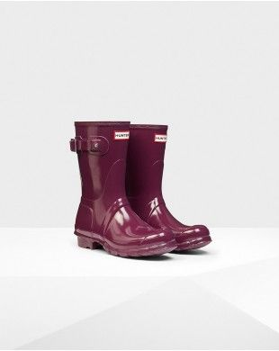 Hunter Women's Original Short Gloss  Wellington Boots Purple #hunter  #boots #rainboots #short #gloss #purple