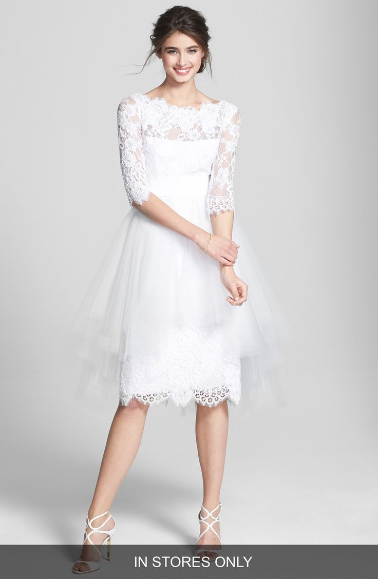 Women 39 s marchesa tulle overskirt embroidered lace dress for Nordstrom short wedding dresses