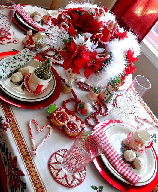 vintage inspired Christmas table setting