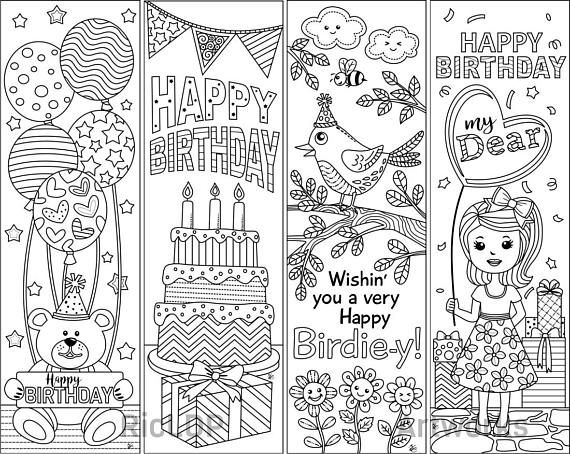 4 Printable Birthday Coloring Bookmarks Birthday Gift Birthday
