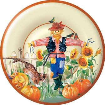 Scarecrow Cream 8 inch Plates - Fall / Thanksgiving - Holidays PlatesAndNapkins.com  sc 1 st  Pinterest & 54 best Fall / Thanksgiving Paper Plates and Paper Napkins images on ...