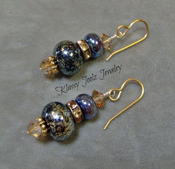 Lampwork Drop Earrings  Artisan Lampwork Beads  by klassyjoolz