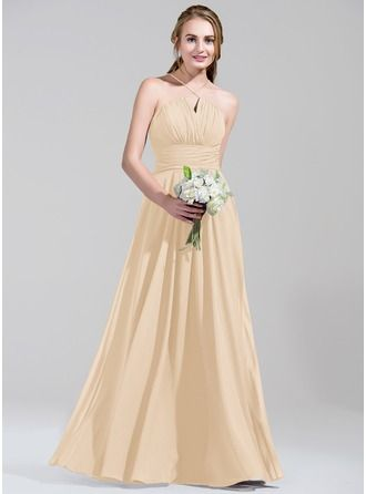 A-Line/Princess Scalloped Neck Floor-Length Chiffon Bridesmaid Dress With Ruffle Beading Sequins