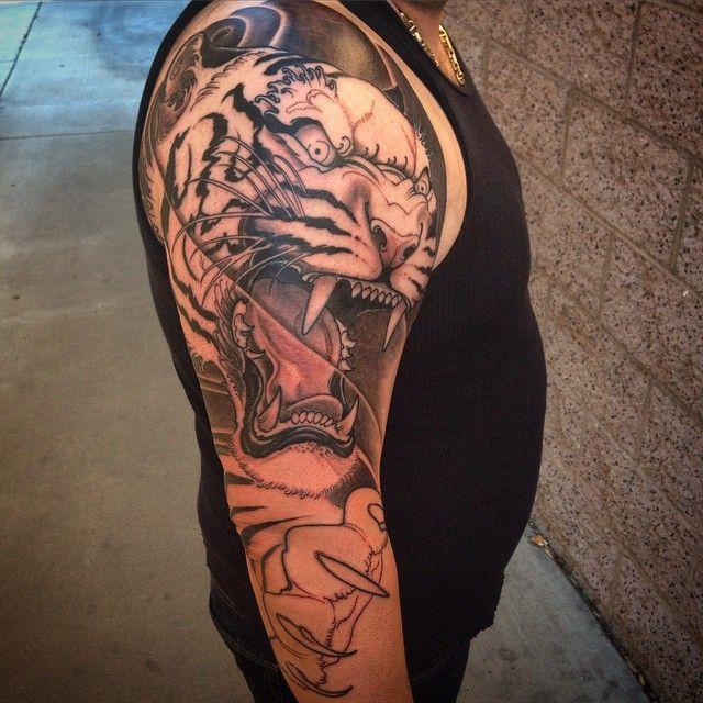 First session on this tiger tattoo Jeff Norton Tattoo. Atascadero, California. www.jeffnortontattoo.com