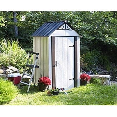 Arrow Designer Hot Dipped Galvanized Steel Shed 4' W x 4' L With swing doors / DSM44 (Off-White (Beige))