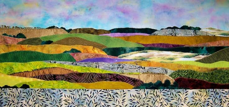Fiber Art...: Seasons S, Chatty Landscape, Fabrics Artists, Sauv Art, Juanita Sauv, Landscape Quilts, Art Quilts, Fiber Art, Fabrics Landscape