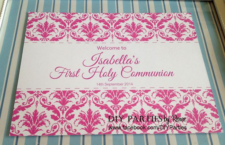 Table Sign - Hot pink Damask. Find us on Facebook:  www.facebook.com/diyparties