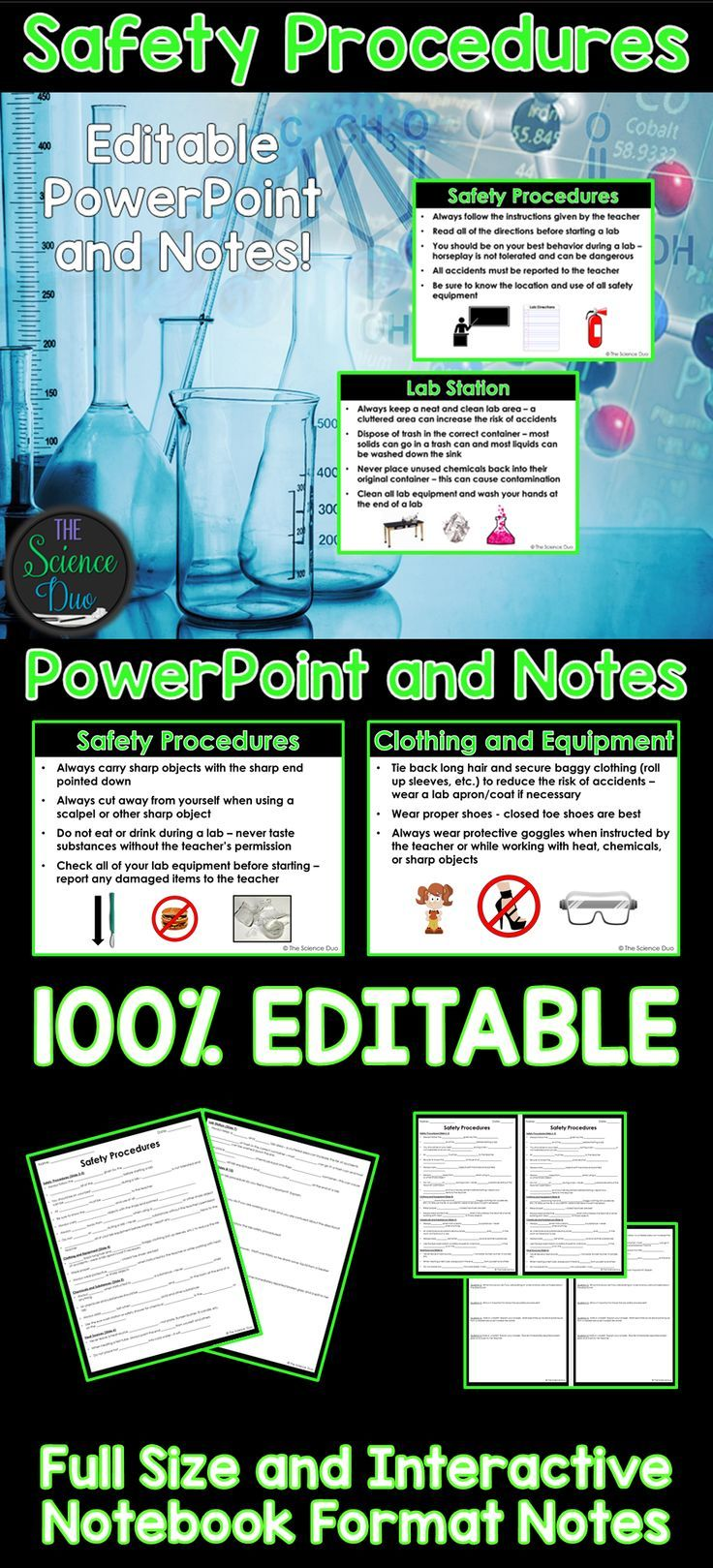 Introduce or help your students review Science Lab Safety Rules and Procedures with this PowerPoint presentation and student notes pages.
