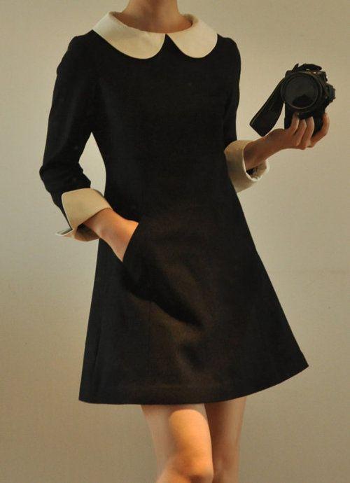 Simple and mod chic. Peter Pan collar. Black dress. http://shop.glamfoxx.com/White-Silk-Petter-pan-Collar-A-line-Dress-12400054.htm