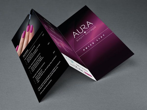 brochure design for boutiques - aura beauty boutique tri fold brochures beauty salon