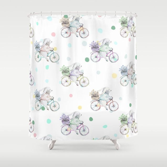 Bathroom Curtains Blue Watercolor Flower Decor Set By Ambesonne