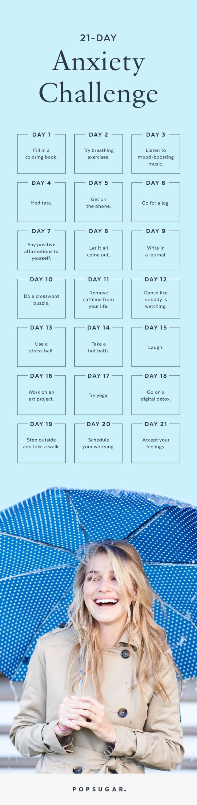 Feeling stressed or anxious? Here's a 21-day challenge to help you get through it and on your way to stress-free living. (Step Exercises Lifestyle)