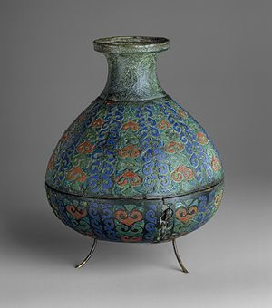 This is a Roman vas. This was created in the third century AD. It was made out of copper alloy. I discovered this on the Metropolitan Museum of Art website. http://www.metmuseum.org/toah/works-of-art/47.100.5