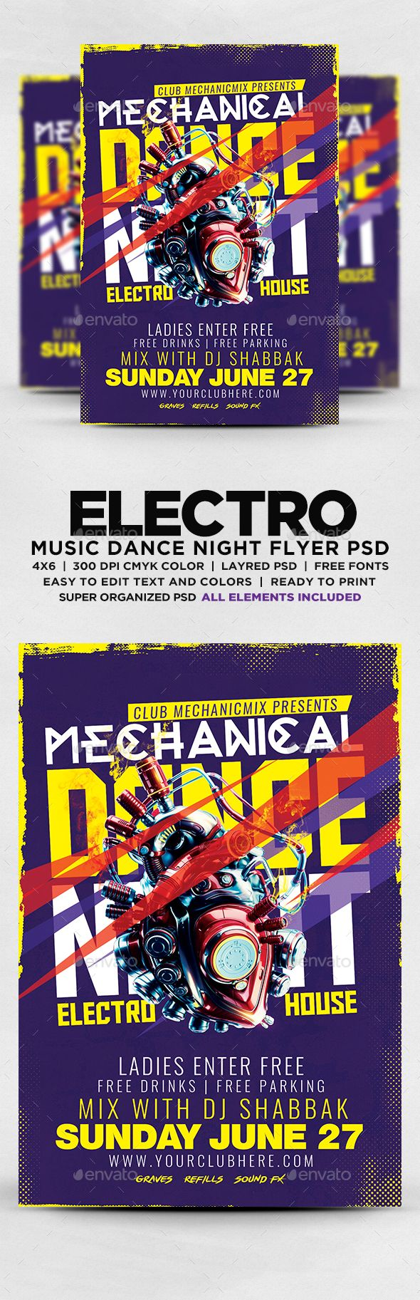 Electro Music Dance Night Flyer — Photoshop PSD #electro #dance music • Download ➝ https://graphicriver.net/item/electro-music-dance-night-flyer/20093370?ref=pxcr