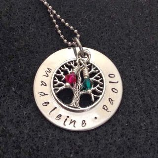 Stainless steel hand-stamped necklace with tree and Swarovski crystal charms from A Cherry on Top - Handcrafted Creations: $27