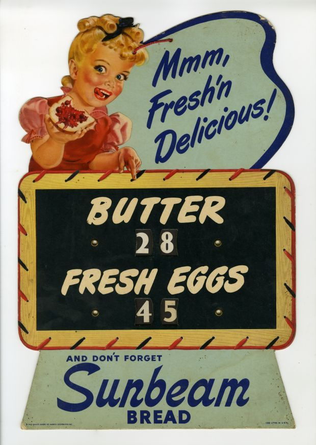 1949 Little Miss Sunbeam Bread Butter and Fresh Eggs Country Store Price Indicator Display Super Rare Americana Advertising Icon Ephemera