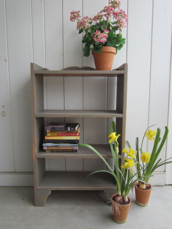 Grey Painted Bookshelf / Small Bookshelf / Hand Painted / Rustic Bookshelf  / Pine Book Shelf
