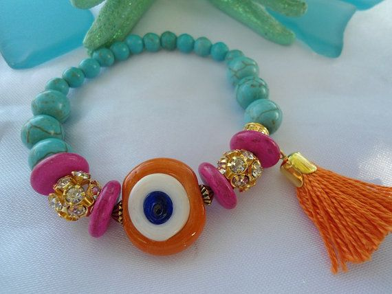 SALE----- TURKISH PRINCESS Bracelet - Amulet bracelet-Evil eye jewelry - Middle Eastern-Tribal bracelet-Bohemian jewelry on Etsy, $18.00