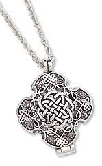 """Prayer Locket What is your heart's desire, the most sacred prayer of your soul? Write it down to make it tangible and clasp it between the intricate knots of this pewter locket. On a 24"""" chain. USA."""