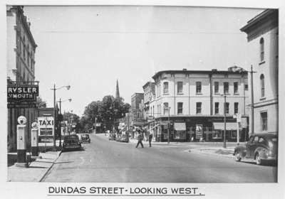 Dundas Street looking West from Brock Street, Whitby, Ontario - 1947.