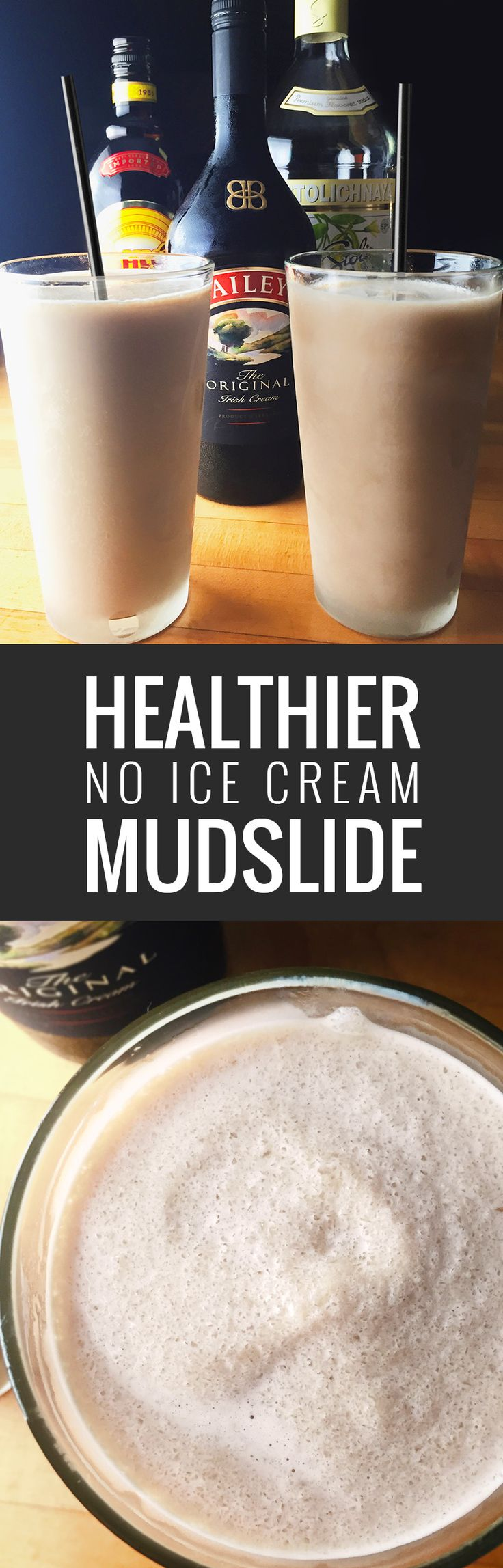 A frozen mudslide recipe with half the calories of most mudslides. All you need is vodka, coffee liquor, Irish cream and ice.