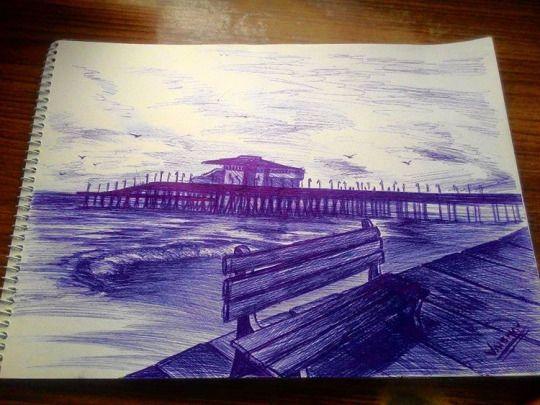 CALM BEACH pen work (blue ball point pen)