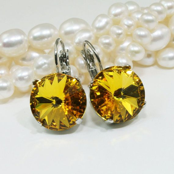 Yellow Earrings Sunflower Crystal Earrings Yellow by TIMATIBO