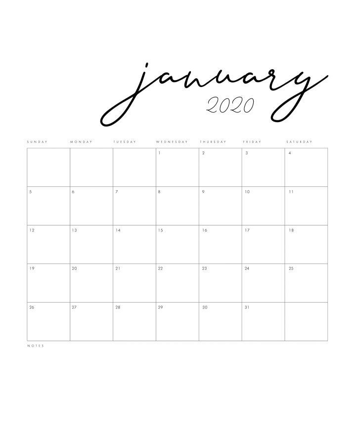 15 Gorgeous Free Printable Calendars For 2020 In 2020 Minimal