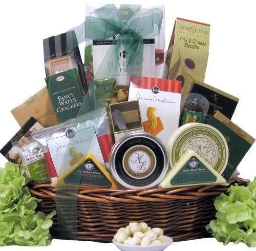 Indulge them with this extravagant gourmet cheese basket Includes a delicious assortment of gourmet cheeses, crackers, nuts, and meats - and even includes a gift boxed wooden handled cheese knife A perfect gift for any occasion Great Arrivals Gourmet Cheese Gift Basket, Extravaganza