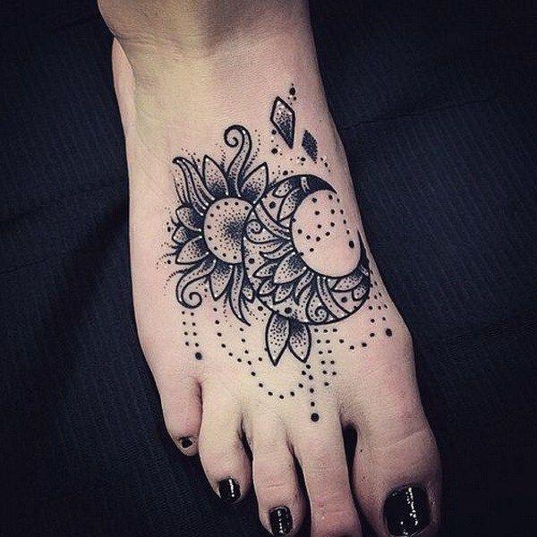 Sexy Sun Tattoo on Foot.