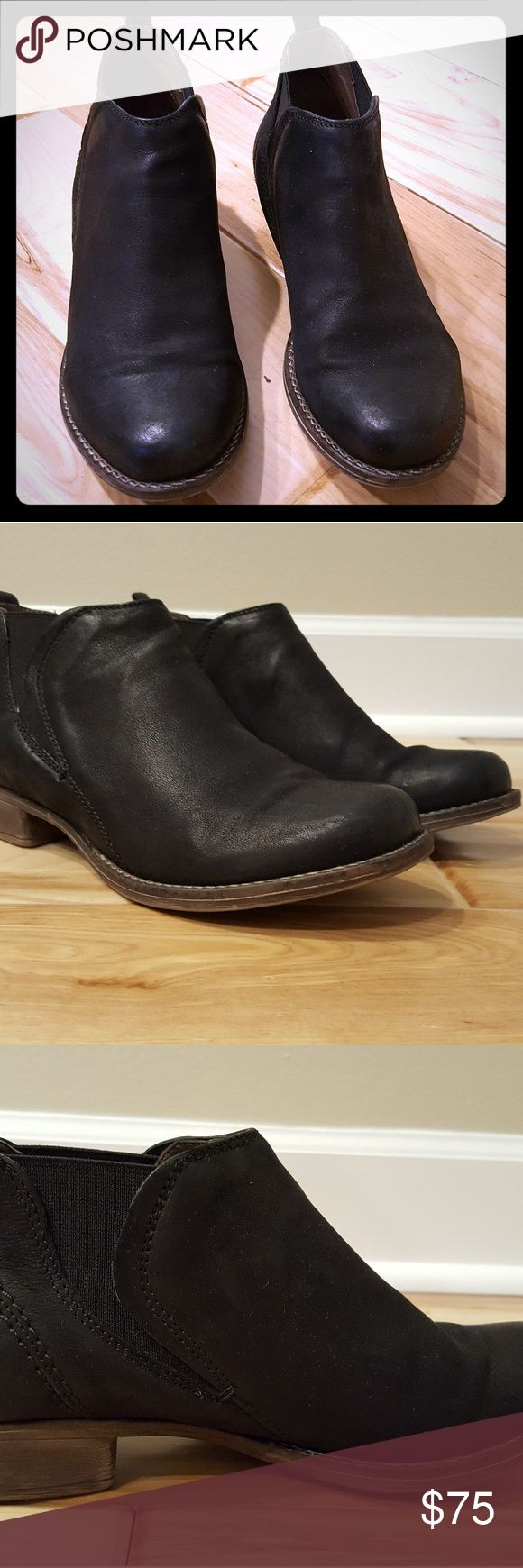 Clarks Colindale Oak black shoes sz 5 UK / 7.5 US Clarks shoes, women's size 7.5 US or 5 UK. These are from the Clarks Narrative line - style is Colindale Oak. Black leather upper and rubber soles. They are a slip-on style with elastic - similar to a chelsea style boot.   I bought these in the UK and wore them once indoors, so they are in excellent, new condition. These are not available at Clarks in the US. Clarks Shoes Flats & Loafers