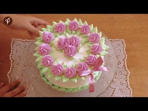 Bolos decorados em 1 minuto - Chantilly Rosa e Verde - YouTube