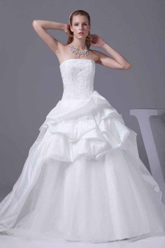 [送料無料]ホワイト 花嫁ドレス  結婚式ドレス  ウエディングドレス  ストラップレスネック  レースアップ  チャペルトレイン  コートトレイン  刺繍  プリンセスライン【楽天市場】