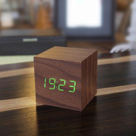 Cube Click Clock Green LED // Walnut https://www.touchofmodern.com/sales/gingko-eco--3/cube-click-clock-green-led-walnut