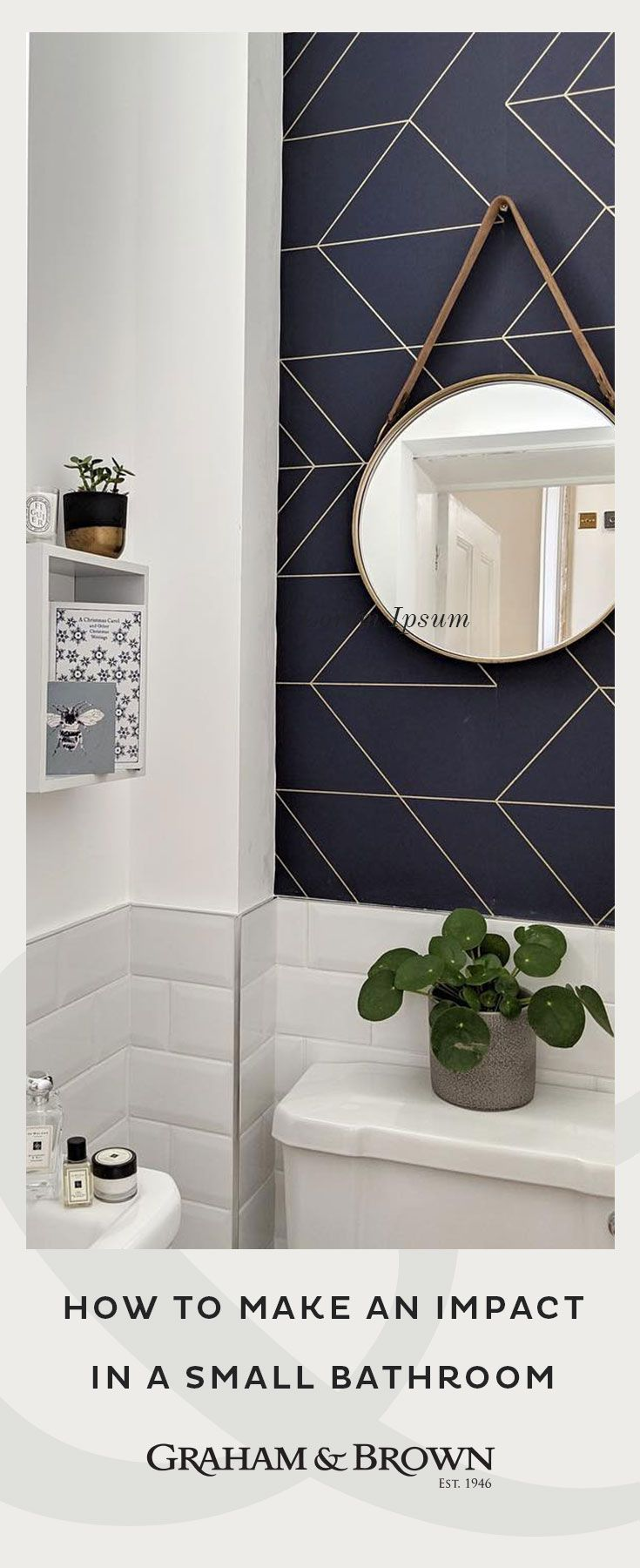 How To Make An Impact In A Small Bathroom Using Wallpaper In The Bathroom Navy Wallpaper Navy Wallpaper Navy Decor Gold Wallpaper