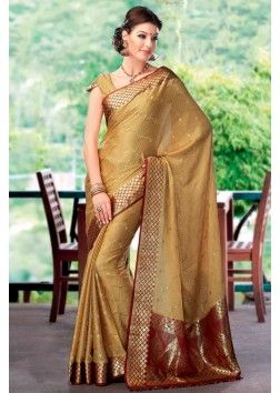 Golden Colour Zari Weaved Crepe Saree with Heavy Pallu - SR2629