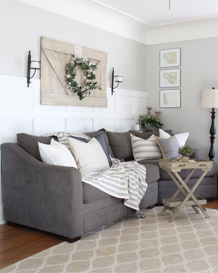 Charcoal Sofa Board And Batten And A Modern Farmhouse Vibe Grey
