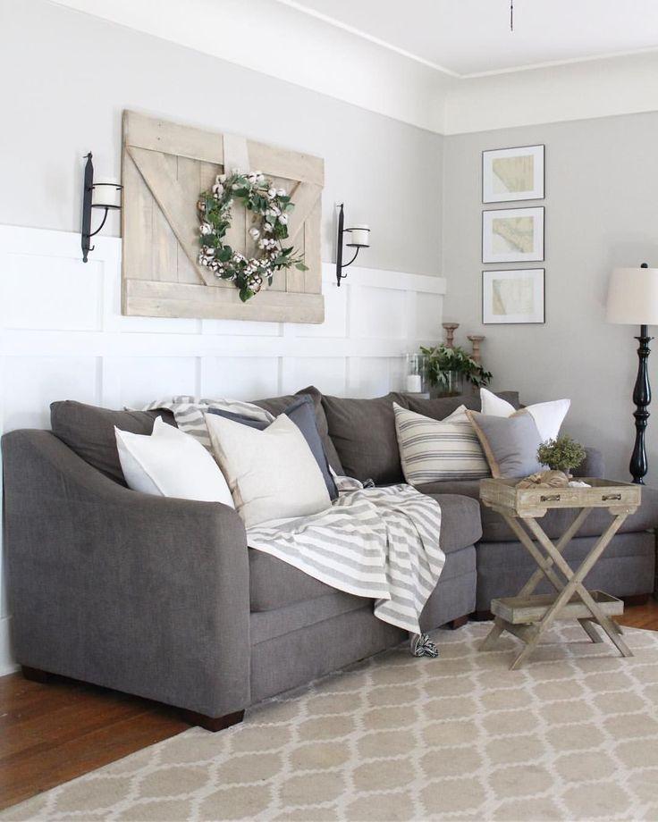 Charcoal Sofa Board And Batten And A Modern Farmhouse Vibe Grey Sofa Living Room Grey Sofa Decor Farm House Living Room
