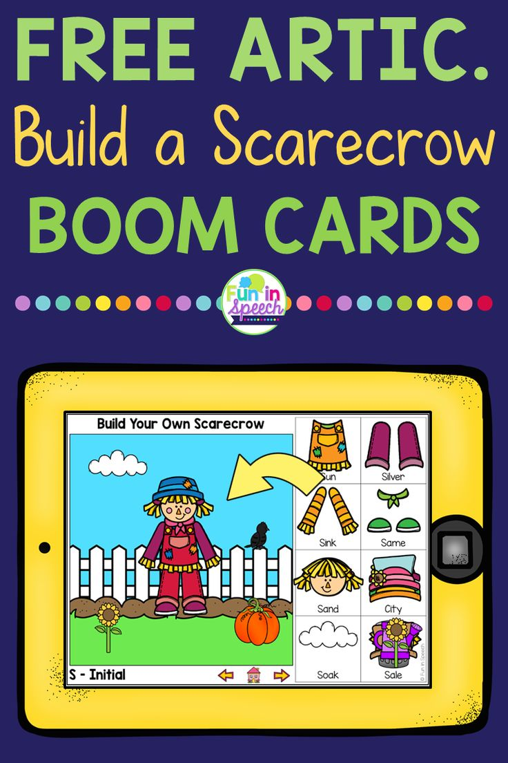 Free articulation boom cards for fall speech therapy and