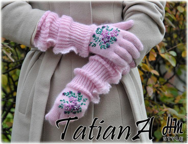 """Купить Длинные мохеровые перчатки """" Нежно-розовые"""" - бледно-розовый, перчатки, перчатки женские"""