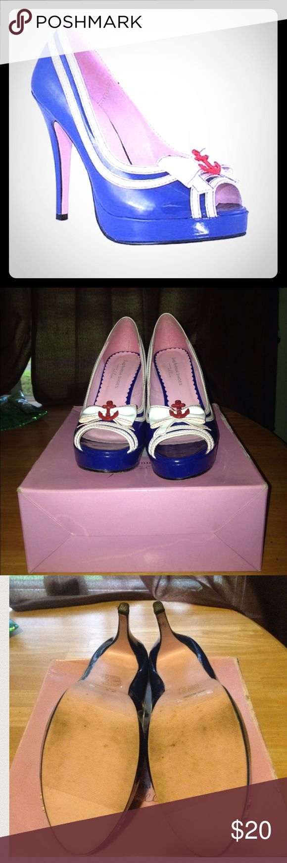 Sailor High Heels ⚓️ You gotta put on you sailing shoes, so why not make them fashionable?  Barely used, in box, Leg Avenue Sailor High Heels (calm your horn Popeye).  Slight scruff on the bottom but stickers are still in tact.  Worn them 1 time for a fun 4th of July photoshoot. Leg Avenue Shoes Heels